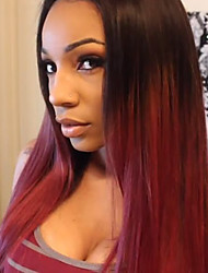 cheap -Synthetic Wig Straight Straight Wig Ombre Medium Length Black / Dark Wine Synthetic Hair Women's Ombre Hair Ombre
