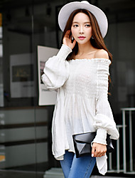 cheap -Women's Holiday / Going out / Beach Vintage / Boho / Sophisticated Lantern Sleeve Shirt - Solid Colored Ruched Off Shoulder / Summer / Flare Sleeve