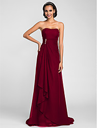 cheap -A-Line Strapless Sweep / Brush Train Chiffon Bridesmaid Dress with Beading / Side Draping / Cascading Ruffles