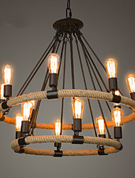 abordables -style chandelle chandelier en corde de chanvre lumière ambiante finitions peintes finitions en métal style bougie 110-120v / 220-240v ampoule non incluse / e26 / e27