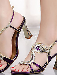 cheap -Women's Sandals Stiletto Heel Open Toe Rhinestone / Crystal / Buckle Microfiber Comfort / Novelty / Club Shoes Walking Shoes Summer / Fall Gold / Purple / Wedding / Party & Evening / Party & Evening