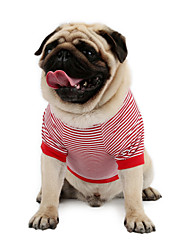 cheap -Cat Dog Shirt / T-Shirt Sweatshirt Vest Dog Clothes Red Blue Costume Cotton Stripes Classic Holiday Casual / Daily XS S M L