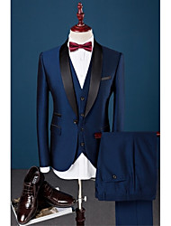 cheap -Royal Blue Solid Colored Slim Fit Cotton / Polyester / Spandex Suit - Shawl Collar Single Breasted One-button / Suits