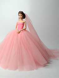 cheap -Wedding Dress Party / Evening Wedding Ball Gown Solid Colored Tulle Lace Organza For 11.5 Inch Doll Handmade Toy for Girl's Birthday Gifts  Doll Not Included