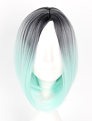 cheap -Cosplay Wigs Women's Girls' 14 inch Heat Resistant Fiber Green Mixed Color Green mixed white Anime