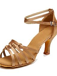 cheap -Women's Dance Shoes Silk Latin Shoes / Salsa Shoes Heel Customized Heel Customizable Brown / Blue / Nude / Indoor / EU37