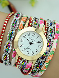 cheap -Women's Bracelet Watch Diamond Watch Quartz Ladies Analog Light Sky Blue White Black / Quilted PU Leather / One Year / One Year / Tianqiu 377