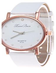 cheap -Men's Wrist Watch Quartz Hot Sale Leather Band Analog Casual Fashion Black / White / Brown - White Black Brown