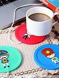 abordables -bande dessinée silicone créatif isolation électrique coaster usb tasse chaude dispositif de chauffage bureau café thé chauffe pad mat