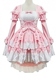 cheap -Princess Sweet Lolita Summer Dress Women's Girls' Cotton Japanese Cosplay Costumes Pink Solid Colored Bowknot Cap Sleeve Long Sleeve Short / Mini / Tuxedo / High Elasticity