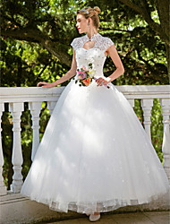 cheap -Ball Gown High Neck Floor Length Lace / Tulle Cap Sleeve Sparkle & Shine Made-To-Measure Wedding Dresses with Beading / Appliques 2020