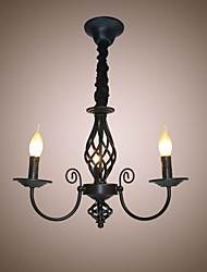 cheap -3-Light 50 cm Candle Style Chandelier Metal Candle-style Painted Finishes Traditional / Classic 110-120V / 220-240V