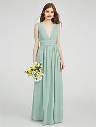 cheap -Sheath / Column V Neck Floor Length Chiffon Bridesmaid Dress with Ruched / Side Draping