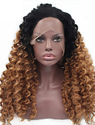 cheap -Synthetic Lace Front Wig Kinky Curly Blonde Synthetic Hair Dark Roots / Natural Hairline Blonde Wig Women's Medium Length Lace Front