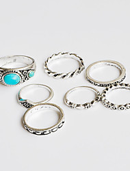 cheap -Women's Ring Turquoise Silver Chrome Turquoise Unique Design Classic Bohemian Christmas Gifts Wedding Jewelry Flower Handmade DIY / Party / Special Occasion / Anniversary / Birthday / Housewarming