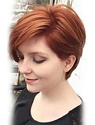 Недорогие -Человеческие волосы Парик Прямой Классика Классика Прямой силуэт Машинное плетение Medium Auburn Повседневные