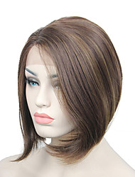 cheap -Synthetic Wig Straight Straight Lace Front Wig Medium Length Synthetic Hair Women's Brown