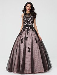 cheap -Ball Gown Luxurious Black Quinceanera Formal Evening Dress Illusion Neck Sleeveless Floor Length Taffeta Tulle Beaded Lace with Beading Lace Insert Appliques 2020