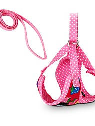 cheap -Cat Dog Harness Leash Breathable Adjustable / Retractable Safety Polka Dot Flower Fabric Black Rose Red