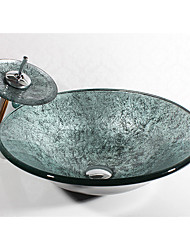 cheap -Bathroom Sink Contemporary - Tempered Glass Round Vessel Sink