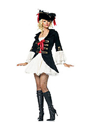 cheap -Pirate Cosplay Costume Women's Halloween Festival / Holiday Polyester Terylene Black / White Women's Carnival Costumes Fashion