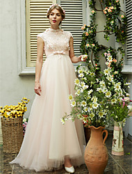 cheap -A-Line Wedding Dresses High Neck Sweep / Brush Train Tulle Short Sleeve Open Back with Bowknot Sash / Ribbon Beading 2021