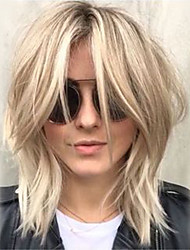 cheap -Human Hair Blend Wig Medium Length Wavy Layered Haircut Short Hairstyles 2020 With Bangs Berry Wavy Side Part Machine Made Women's Platinum Blonde