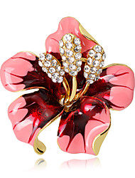 cheap -Women's Brooches Flower Crystal Brooch Jewelry Rose Pink Red Black For Wedding Party Special Occasion Daily