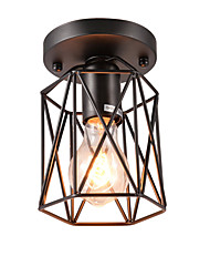 cheap -Vintage Mini 1-Light Black Metal Cage Loft Ceiling Lamp  Flush Mount Dining Room Kitchen  Light Fixture