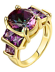 cheap -Women's Statement Ring Ring AAA Cubic Zirconia Amethyst Rose Gold Gold Sterling Silver Zircon Gold Plated Ladies Personalized Luxury Christmas Gifts Wedding Jewelry Solitaire Mood / Rose Gold Plated