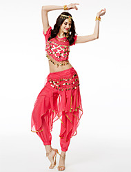 cheap -Belly Dance Outfits Women's Performance Chiffon Sequin Short Sleeves Dropped Top
