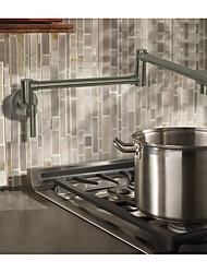 Недорогие -кухонный смеситель - Две ручки одно отверстие Матовый никель Горшок Filler По центру Современный / Ар деко / Ретро / Modern Kitchen Taps