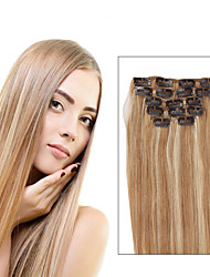 cheap -Clip In Human Hair Extensions Straight Human Hair Human Hair Extensions Women's Strawberry Blonde / Light Blonde