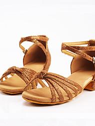 cheap -Women's Dance Shoes Satin Latin Shoes Buckle Sneaker Low Heel Customizable Black / Silver / Pink / Dark Brown / Practice