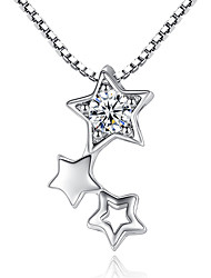 cheap -Women's AAA Cubic Zirconia Pendant Necklace Star Ladies Unique Design Bridal Cubic Zirconia Platinum Plated White Gold Silver Necklace Jewelry For Wedding Party Special Occasion Engagement
