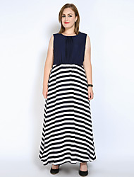 cheap -Women's Fine Stripe Plus Size Party / Beach Vintage / Street chic Maxi Loose / Chiffon / Swing Dress - Striped / Color Block / Patchwork Spring Blue XXXXL XXXXXL XXXXXXL