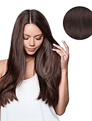 cheap -Clip In Human Hair Extensions Straight Human Hair Human Hair Extensions Dark Brown