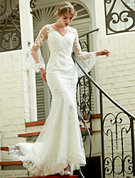 cheap -Mermaid / Trumpet V Neck Court Train Lace Made-To-Measure Wedding Dresses with Appliques / Button by LAN TING BRIDE® / Bell Sleeve / See-Through