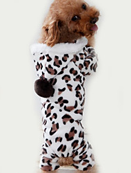 cheap -Cat Dog Jumpsuit Pajamas Winter Dog Clothes Brown Costume Polar Fleece Leopard Casual / Daily S M L XL XXL