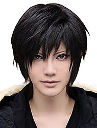 cheap -amybria men s beautiful male black short straight hair wig wigs cosplay party