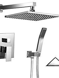 cheap -Shower Faucet - Contemporary / Art Deco / Retro / Modern Chrome Shower System Ceramic Valve Bath Shower Mixer Taps / Brass / Two Handles Two Holes