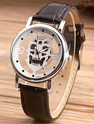 Недорогие -Муж. Модные часы Часы со скелетом Японский Кварцевый Кожа Черный / Коричневый 30 m Аналоговый Черный Коричневый