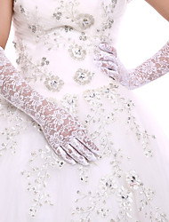 cheap -Lace / Cotton Wrist Length / Opera Length Glove Charm / Stylish / Bridal Gloves With Embroidery / Solid