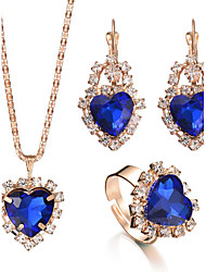 cheap -Women's Crystal Pendant Ring Necklace / Earrings Heart Love Luxury Fashion Elegant Bridal Earrings Jewelry Red / Green / Blue For Christmas Gifts Wedding Party Special Occasion Anniversary Birthday
