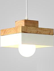 cheap -1-Light Northern Europe Simplicity Modern Wood Pendant Light Metal Shade Living Room Dining Room Cafe Lighting