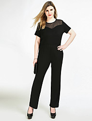 cheap -Cute Ann Women's Plus Size Party / Daily / Work Vintage Black Jumpsuit Onesie, Solid Colored Mesh XXXL XXXXL XXXXXL High Rise Short Sleeve