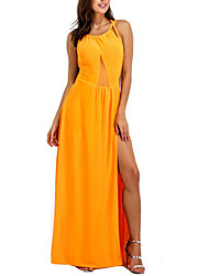 cheap -Women's Backless Party Club Sophisticated Maxi Sheath Dress - Solid Colored Strap Pink Yellow Wine M L XL