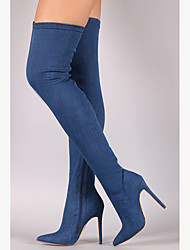 cheap -Women's Boots Over-The-Knee Boots Stiletto Heel Pointed Toe Zipper Denim Over The Knee Boots Cowboy / Western Boots / Fashion Boots / Slouch Boots Spring / Fall Black / Light Blue / Navy Blue / EU40