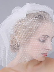 cheap -Two-tier Cut Edge Wedding Veil Blusher Veils with Mesh / Tulle / Birdcage