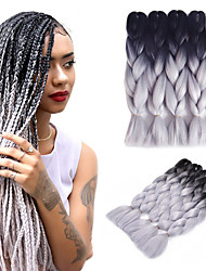 cheap -Braiding Hair Straight Jumbo Braids Synthetic Hair / 100% kanekalon hair 5pcs Hair Braids Silver / Black / Ombre 24 inch Ombre Braiding Hair